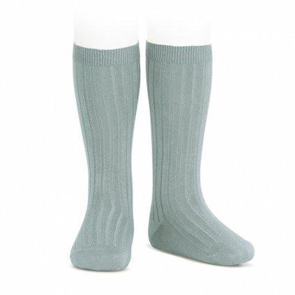 wide rib knee high socks dry green