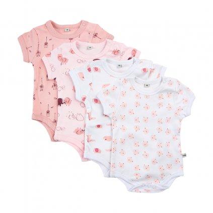 Pippi novorozenecké body s krátkým rukávem set 4 ks 3820 - 501
