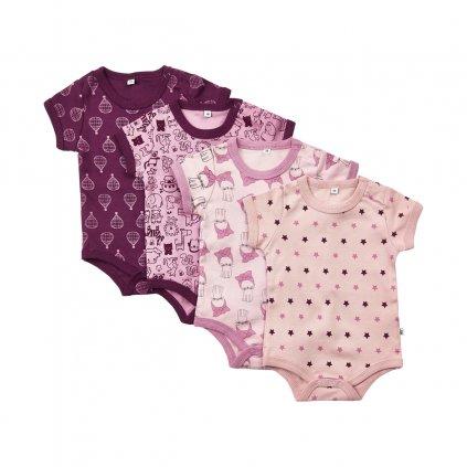Pippi novorozenecké body s krátkým rukávem set 4 ks 3820 - 600