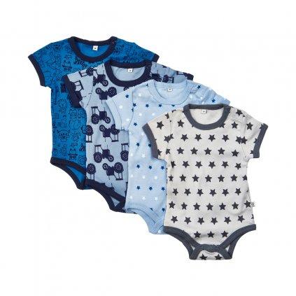Pippi novorozenecké body s krátkým rukávem set 4 ks 3820 - 725