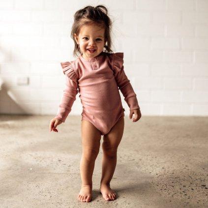 Snuggle Hunny Kids body s dlouhým rukávem Rose GOTS  Organická bavlna, GOTS