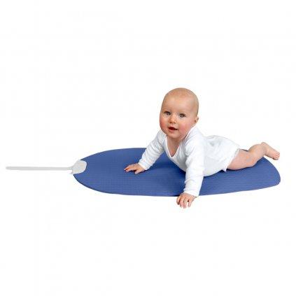 Little Girl Tummy Time on Blue Mat Cutout JPEG