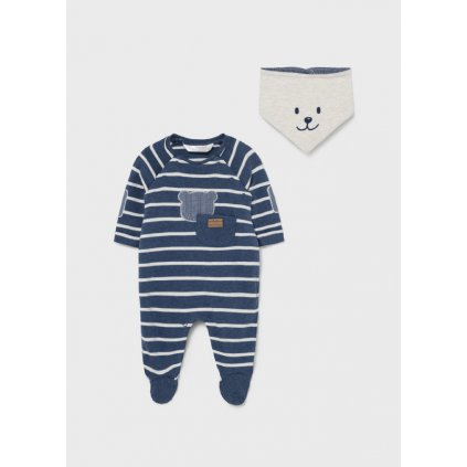 ecofriends footed onesie with matching bib newborn boy id 11 02684 078 L 4