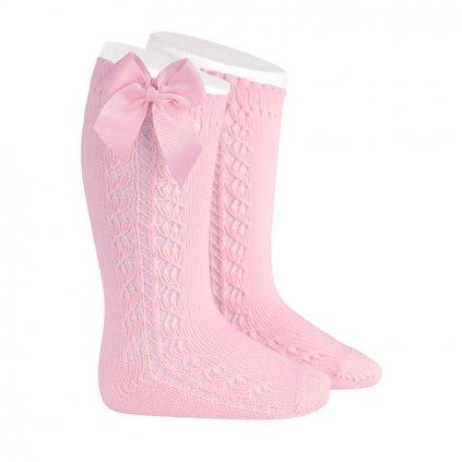 side openwork warm cotton knee socks bow grossgrain pink