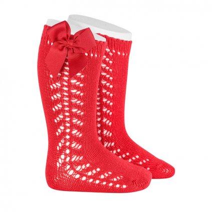 side openwork warm cotton knee socks bow grossgrain red