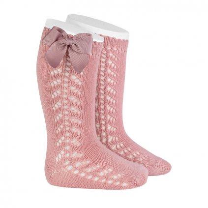 side openwork warm cotton knee socks bow grossgrain pale pink