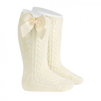 side openwork warm cotton knee socks bow grossgrain beige