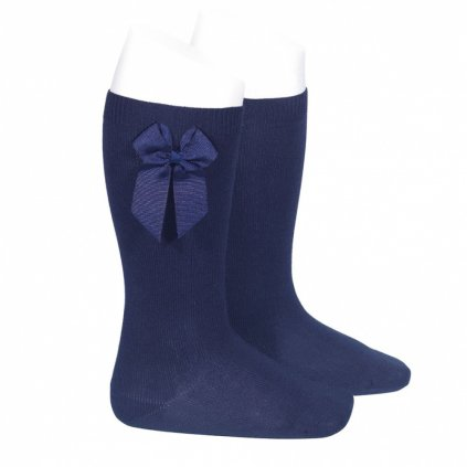 knee high socks with grossgrain side bow navy blue