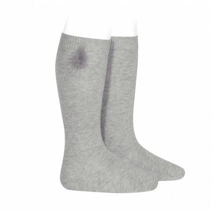knee high socks with faux fur pompom aluminium (1)