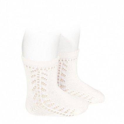 baby side openwork short socks cream