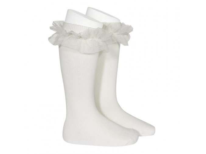 tulle ruffle knee high socks cream