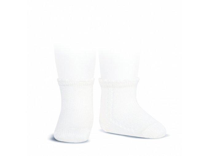 side openwork perle short socks white