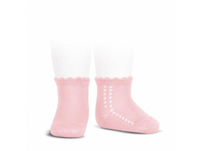side openwork perle short socks pink