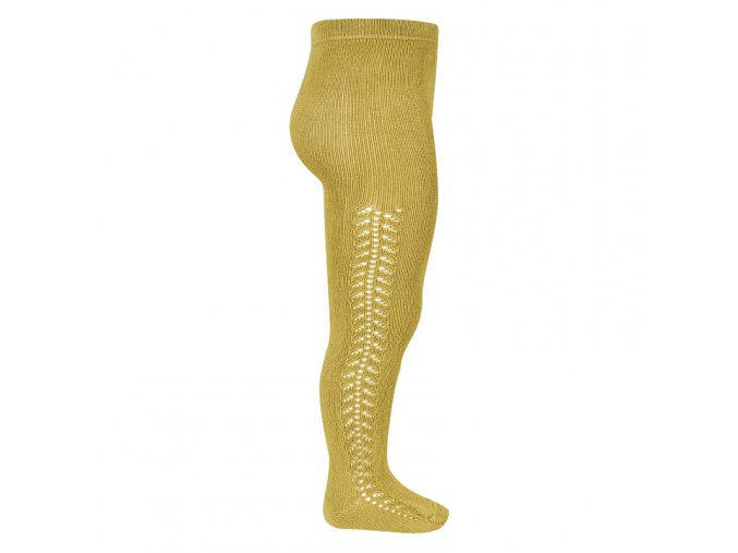 side openwork warm tights mustard