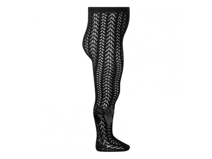 perle openwork tights with bow black