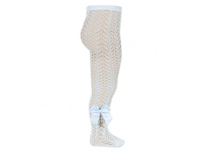 perle openwork tights with bow baby blue