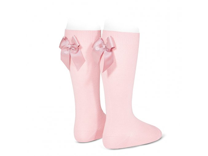 knee high socks with grossgrain back bow pink