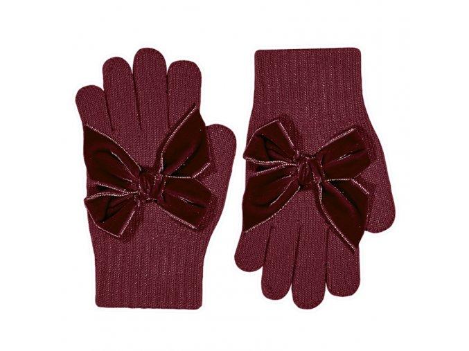 guantes con lazo grande de terciopelo granate