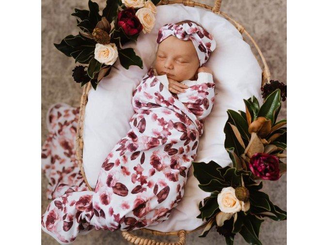 Bavlněná zavinovačka / šátek s čelenkou set Fleur
