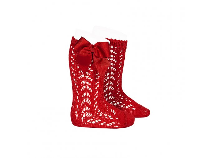perle openwork knee high socks with bow red