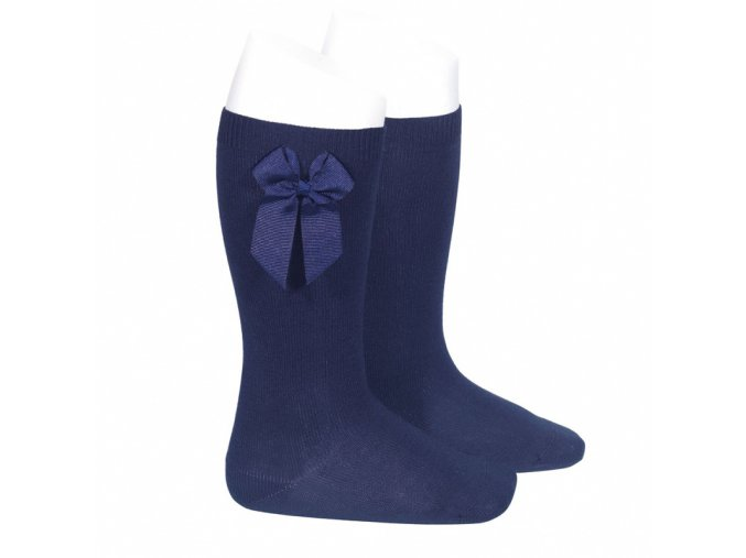 knee high socks with grossgrain side bow navy blue