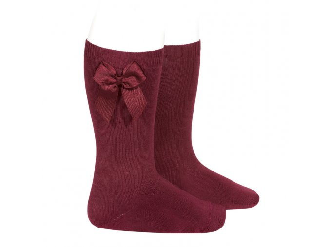 knee high socks with grossgrain side bow garnet