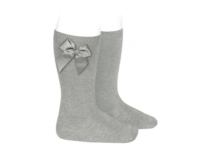 knee high socks with grossgrain side bow aluminium (1)