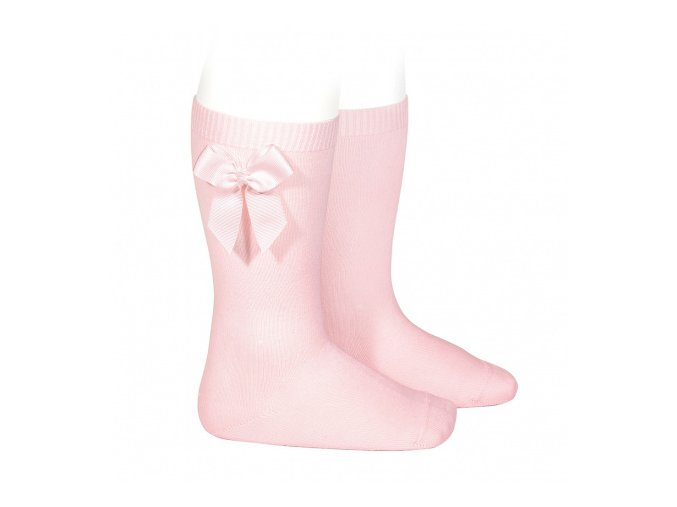 knee high socks with grossgrain side bow pink