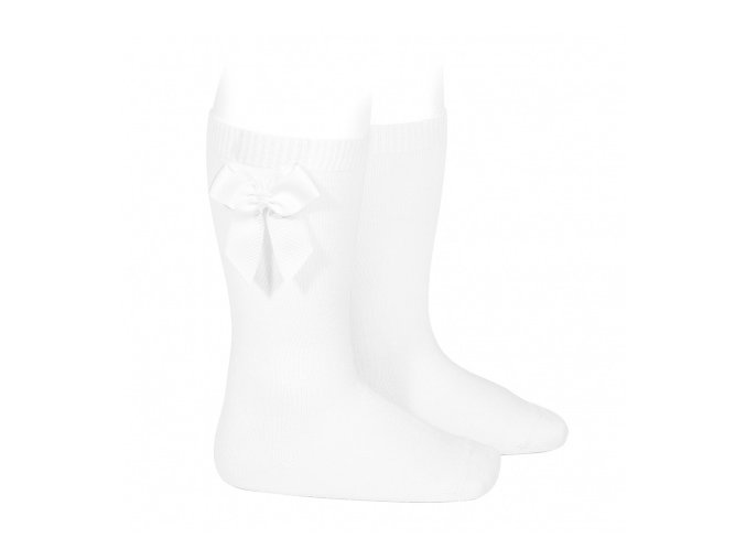 knee high socks with grossgrain side bow white