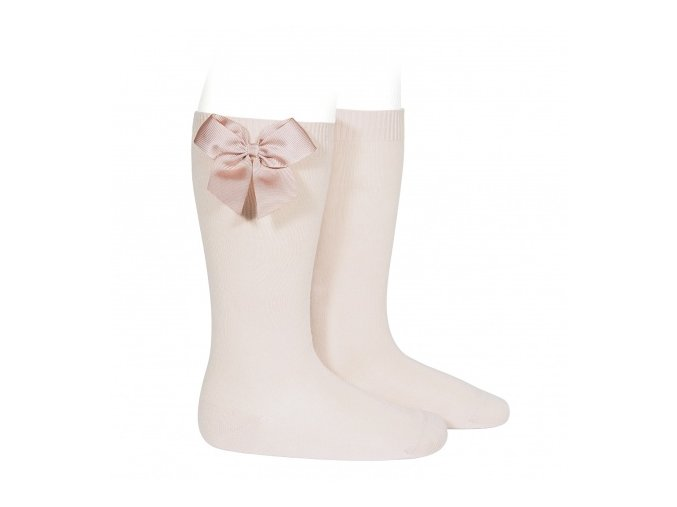 knee high socks with grossgrain bow nude