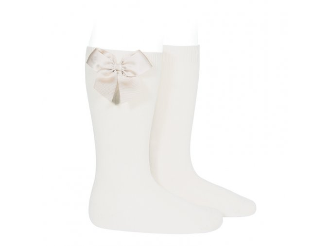 knee high socks with grossgrain side bow cream