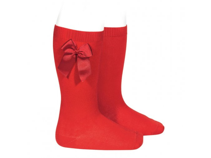 knee high socks with grossgrain side bow red