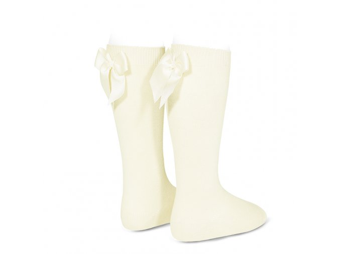 knee high socks with grossgrain back bow beige