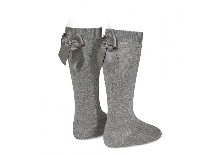 knee high socks with grossgrain back bow light grey