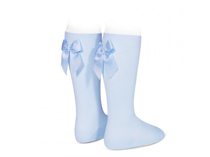 knee high socks with grossgrain back bow baby blue