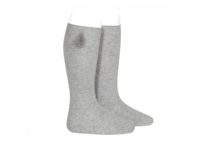 knee high socks with faux fur pompom aluminium (1)