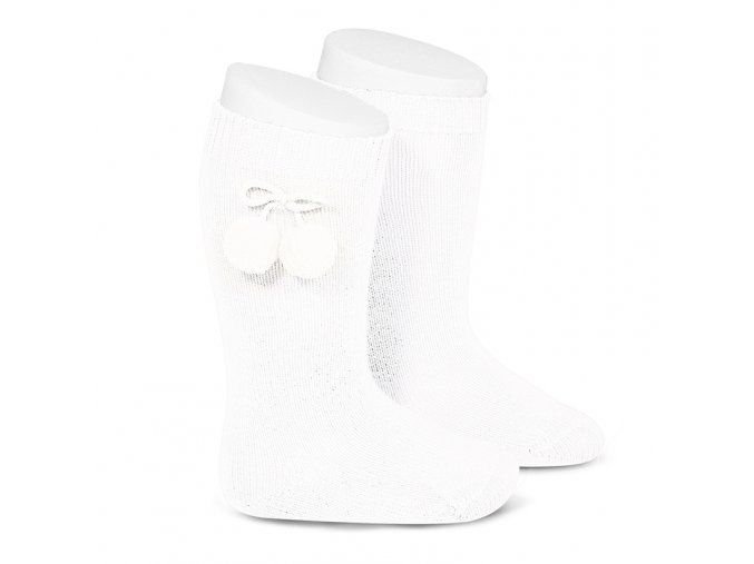 warm cotton knee high socks with pompoms white