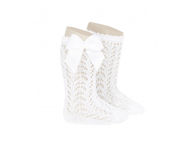 perle openwork knee high socks with bow white