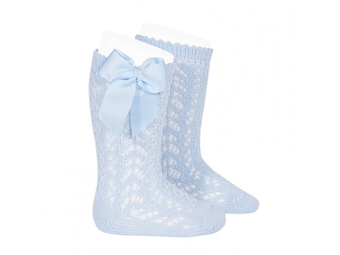 perle openwork knee high socks with bow baby blue
