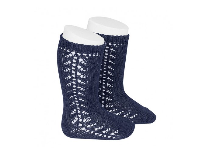 baby side openwork knee high socks navy blue