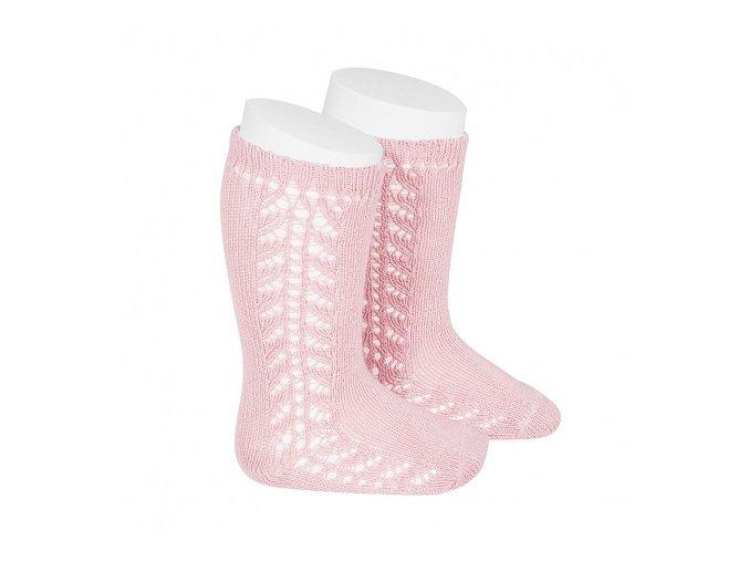 baby side openwork knee high socks pink