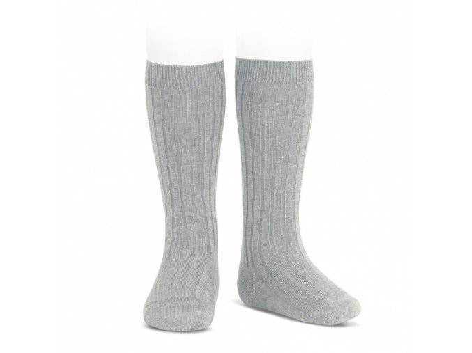 wide ribbed cotton knee high socks aluminium