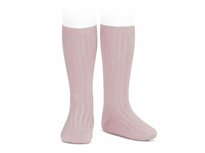 wide ribbed cotton knee high socks pale pink