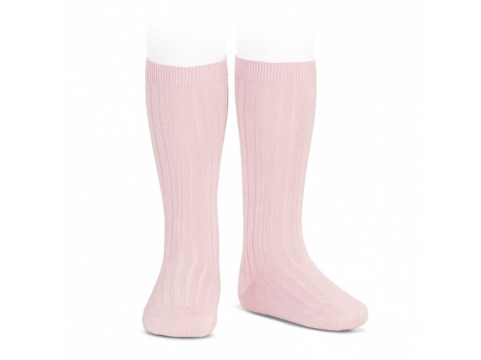 wide ribbed cotton knee high socks pink