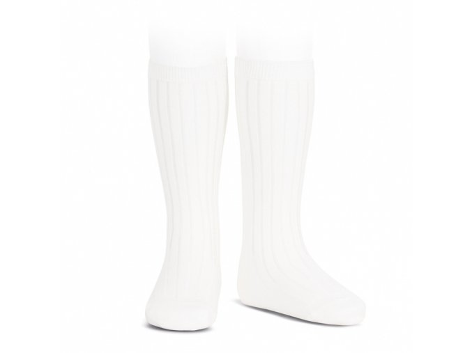 wide ribbed cotton knee high socks white