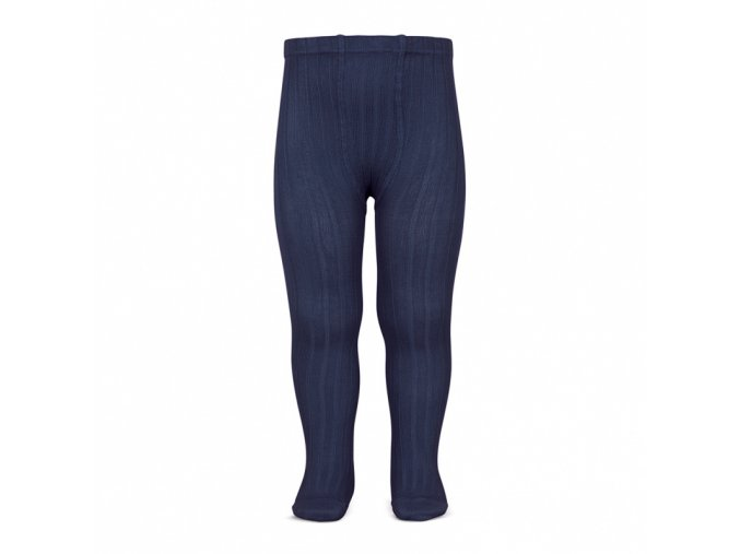 wide rib basic tights navy blue