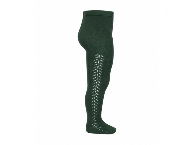 side openwork warm tights bottle green (1)
