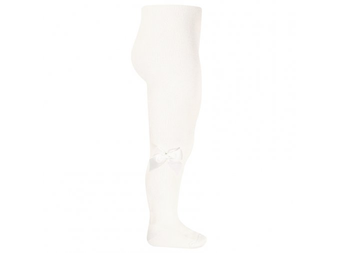 tights with side grossgrain bow cream