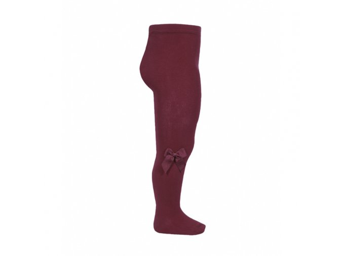 tights with side grossgrain bow garnet