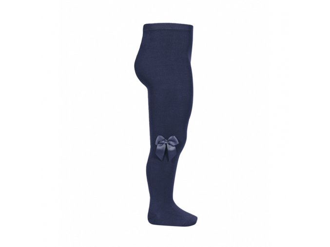 tights with side grossgrain bow navy blue